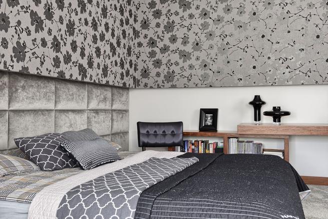 Szara sypialnia. Styl eklektyczny